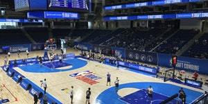 Prospects for the 2021 NBA Draft participate in the Draft Combine at Wintrust Arena in Chicago.