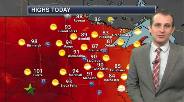 Afternoon forecast: Warmth returns; high 90