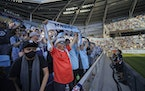Bob Larson of Coon Rapids cheered for the Minnesota United Loons in a full capacity stadium at at Allianz Field in St. Paul, Minn., on Wednesday, June