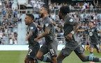 Minnesota United forward Franco Fragapane (7) ran to the fans as he celebrated with teammates after scoring in the first half.  ] RENÉE JONES SCHNEID
