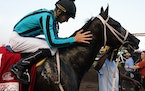 Jareth Loveberry gave a pat to King of Miami after he won the Mystic Lake Derby as a 15-1 shot on Wednesday at Canterbury Park. The race was one of si