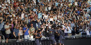 Teammates and Minnesota United fans celebrated with Franco Fragapane (7) after he scored in the first half.