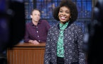 Writer Amber Ruffin during a sketch on 'Late Night with Seth Meyers'
