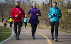 St. Paul's Lake Como was a spring meeting place for the Twin Cities Race Walkers, including Erich Russell, Caitlin Anderson and Karen Swisher