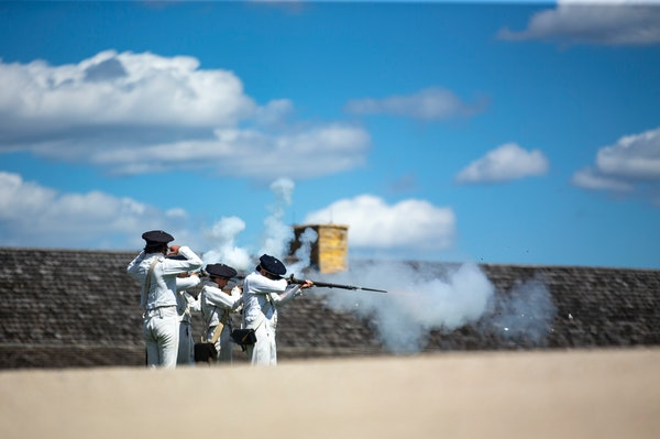 Employees of Historic Fort Snelling demonstrated an artillery drill and fired muskets for the fort's visitors in 2019.