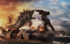 """Godzilla battles Kong in Warner Bros. Pictures' and Legendary Pictures' action adventure """"Godzilla vs. Kong."""" (Courtesy of Warner Bros. Pictur"""