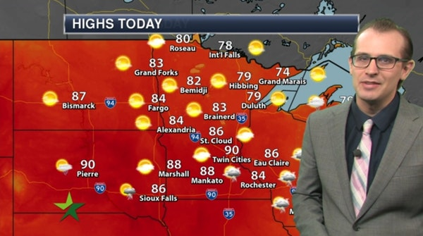 Afternoon forecast: Warm, muggy, high 90; cooler tonight