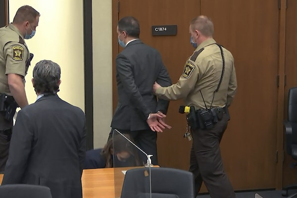 FILE - In this April 20, 2021, file photo, from video, former Minneapolis police officer Derek Chauvin is taken into custody as his attorney Eric Nels