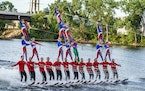 The Twin Cities River Rats perform on the Mississippi River for the Under the Ski Free Water Ski Show.