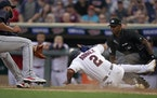 Luis Arraez hustled home with a first-inning run for the Twins, compliments of a balk and a wild pitch Thursday night against Cleveland at Target Fiel