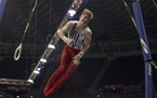Shane Wiskus competes on the rings during the men's U.S. Olympic Gymnastics Trials Thursday, June 24, 2021, in St. Louis.