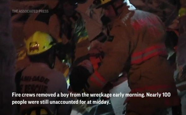 Boy pulled from rubble after Miami condo collapse
