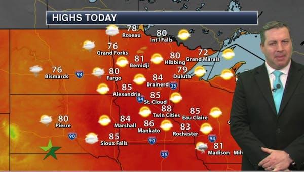 Morning forecast: Warm, high 88; rain likely Saturday