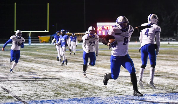 Cambridge-Isanti's Gaven Ziebarth (9) scored the game-winning touchdown against Tartan in a game last Nov. 12. Thanks to his mother, Crystal, and ot