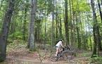 Alexandera Houchin rode her bike through the Pine Valley trail system near Cloquet, Minn., one of her favorite spots to ride when she isn't training