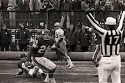 """Cowboys receiver Drew Pearson looked back to see a touchdown signal after catching the infamous """"Hail Mary"""" from Roger Staubach in December 1975."""