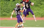 North players celebrated a touchdown late in Saturday's all-star football game in Collegeville, Minn.