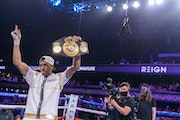 David Morrell Jr. celebrated after knocking out Mario Cazares at The Armory on Sunday.
