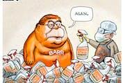 Sack cartoon: Barr washing himself of Trump