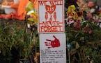 A memorial is seen outside the Residential School in Kamloops, British Columbia, on June 13.