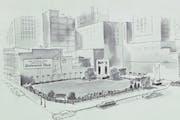 Centennial Plaza vintage postcard