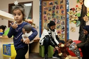 A 4-year-old girl and her family explored the Mona Moede Early Learning Center in Minneapolis in December 2018.