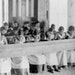 Indigenous students at a residential school in Fort Resolution, Northwest Territories, around 1936. The last school closed in 1996.
