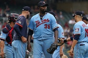 Twins manager Rocco Baldelli pulled starting pitcher Michael Pineda from the mound after White Sox third baseman Jake Burger hit an RBI double in the