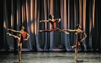 """Joao Menegussi, Tyler Maloney and Carlos Gonzalez in """"La Follia Variations.""""   Photo by JUSTIN MOHLING"""