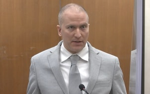 In this image taken from video, former Minneapolis police Officer Derek Chauvin addresses the court as Hennepin County Judge PeterCahill presides ov