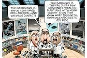 Sack cartoon: We found the UFOs