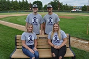Sandy Glieden and family presented a bench in loving memory of Kim Glieden to the Arlington A's during a pre-game memorial ceremony at the Arlington