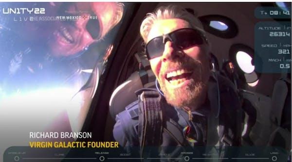 Richard Branson rockets to space aboard own ship