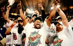 Game 6 heroics from Kirby Puckett, celebrating the World Series championship in 1991, kept the Twins'hopes alive in a Game 7, which they won as we