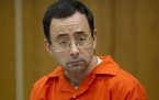 Larry Nassar appears for his sentencing at Eaton County Circuit Court in Charlotte, Mich. on Wednesday, Jan. 31, 2018.