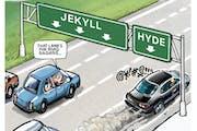 Sack cartoon: Road rage