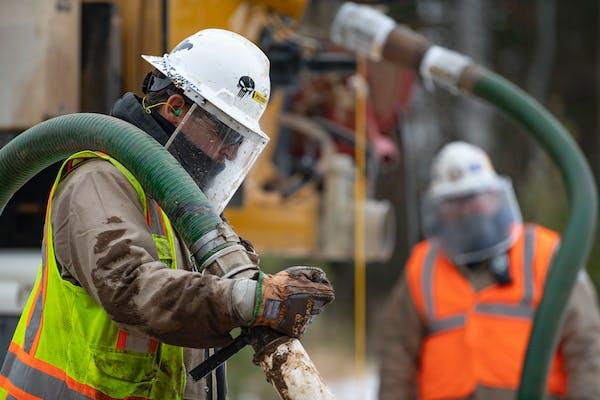 Enbridge utility contractors working on the pipeline project.