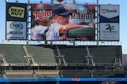 Photo of the Target Field scoreboard on Nov. 4, 2014, the date Paul Molitor was named the Twins' 13th manager. Photo by La Velle E. Neal, Star Tri