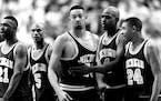 April 5, 1992 Michigan's Fab Five: Ray Jackson (21), Jalen Rose (5), Juwan Howard, Chris Webber (4), Jimmy King (24).  Jeff Wheeler, Minneapolis Star