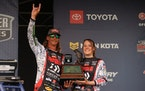 Seth Feider, left, and his wife, Dayton, celebrated his Angler of the Year championship in the Bassmaster Elite Series tour Friday in New York.
