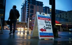 A sign advertising the Early Vote Center in downtown Minneapolis in 2018.