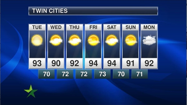 Afternoon forecast: 93, hazy sun, chance of scattered storms