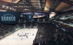 This artist's rendering released in 2020 by the Seattle Kraken shows the NHL hockey team's new logo and name, displayed in what would be their fin