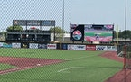 ISG Field in Mankato has been upgraded with a turf field, a large video scoreboard and club suites in right field.