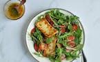 Seared Halloumi and Cherry Tomato Salad with Basil-Mint Vinaigrette.