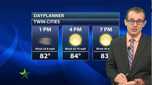 Afternoon forecast: 84, hazy, slight chance of showers