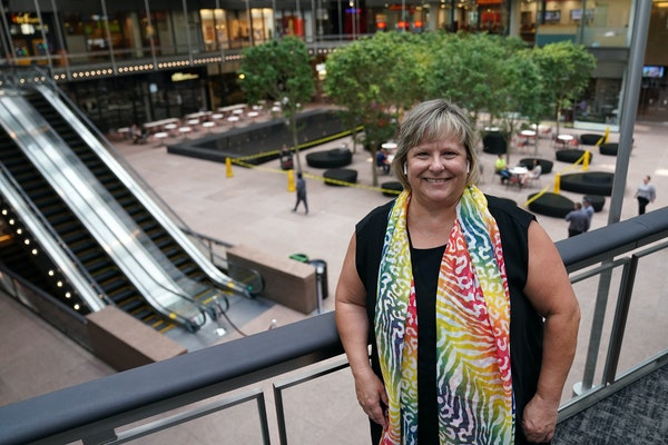 IDS Center general manager Deb Kolar stood for a portrait Tuesday morning at the newly remodeled IDS Center's Crystal Court. Kolar gave a tour of th