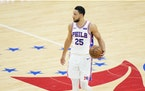 Philadelphia 76ers' Ben Simmons plays during Game 7 in a second-round NBA basketball playoff series against the Atlanta Hawks.