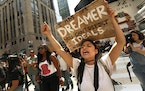 Gloria Mendoza, age 26, is a Dreamer. She is originally from Mexico City. She took part in the protests on Sept. 5, 2017. Protesters gather at Trump T
