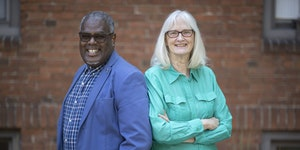 """Augsburg Prof. Terrance Kwame-Ross and retired Education Department chairwoman and Prof. Margaret """"Peg"""" Finders developed a workshop to address th"""